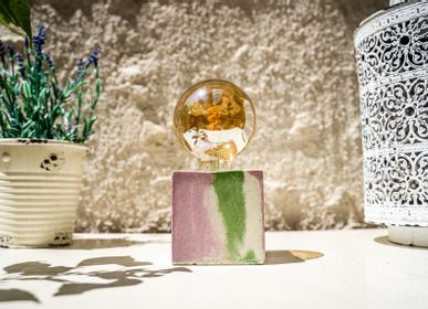 Design objects - Concrete Lamp | Cube | Pastel pink and green marble - JUNNY