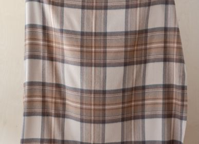 Throw blankets - Lambswool Blanket in Stewart Natural Dress Tartan - THE TARTAN BLANKET CO.