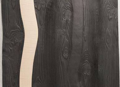 Céramique - Tableau grès noir et bois - ATELIER ENTRE TERRES