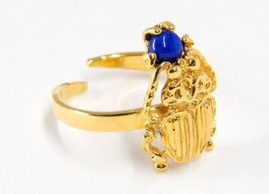 Jewelry - LAPIS LAZULI SCARAB RING GOLD PLATED - BEN AZRI