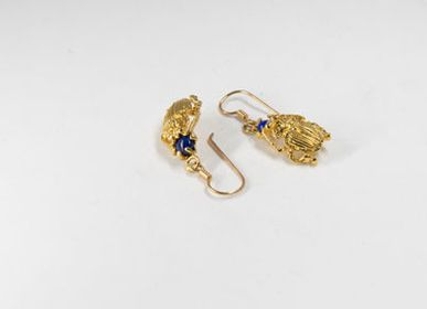 Jewelry - LAPIS LAZULI BEETLE EARRINGS GOLD PLATED - BEN AZRI