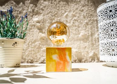 Decorative objects - Concrete Lamp | Cube | Orange and yellow marble - JUNNY
