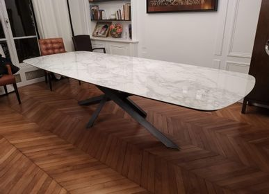 Dining Tables - Table repas céramique, pied VERSATILE - COLOMBUS MANUFACTURE FRANCE