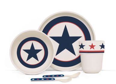 Meals - BAMBOO MEALTIME SET WITH CUTLERY NAVY STAR - PENNY SCALLAN