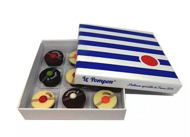 Chocolat - Boîte Marinière 9 pompons  - CHOCOLATERIE LE POMPON