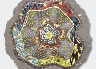 Wall decoration - Lava flower wall creations, enamelled lava - ATELIER PÉPITE DE LAVE