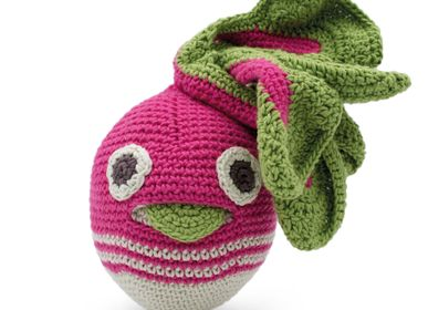 Childcare - HENRY BIG STRIPED RADISH - BABY RATTLE 100% ORGANIC COTON - MYUM - THE VEGGY TOYS
