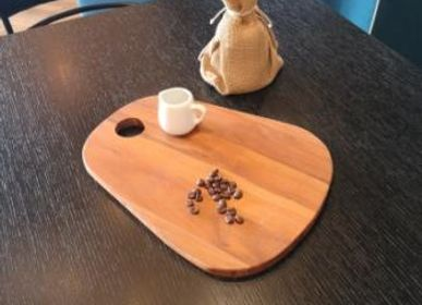 "Platter and bowls -  Cutting board Short round ""dewdrop"" - LIVING MEDITERANEO"