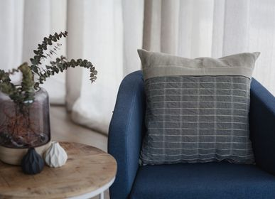 Cushions - Portsalon Cushion - Charcoal - STOKER MILLS IRISH LINEN