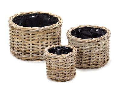 Flower pots - AF396 Round basket set/3 w/ black plastic - MAISON PEDERREY / TONI VAN PARIJS