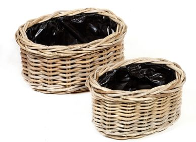 Flower pots - AF293 - Oval basket set/2 w/ black plastic - MAISON PEDERREY / TONI VAN PARIJS