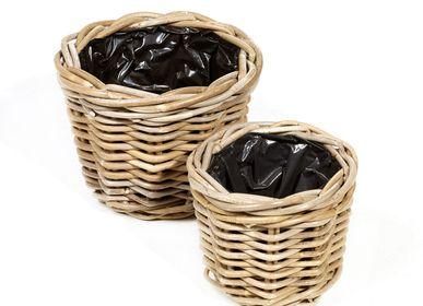 Basket - AF290 - Round basket set/2 w/ black plastic - MAISON PEDERREY / TONI VAN PARIJS