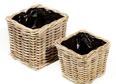 Flower pots - AF291 - Square basket set/2 w/ black plastic - MAISON PEDERREY / TONI VAN PARIJS