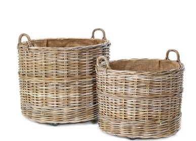 Flower pots - AF346 - Round basket set/2 on wheels with jute lining - MAISON PEDERREY / TONI VAN PARIJS