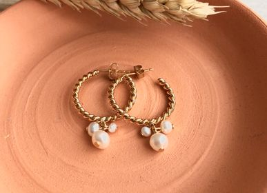 Jewelry - Cultured Pearl Twisted Hoop Earrings - JOUR DE MISTRAL