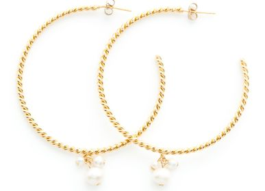 Jewelry - Gold Twist Hoop Earrings with Freshwater Pearls - JOUR DE MISTRAL