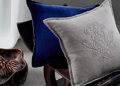 Cushions - Silk Velvet & Linen Cushion  - DE LE CUONA