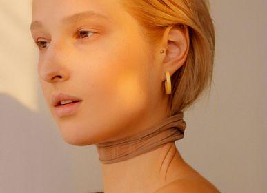 Jewelry - Wooden earrings Gutta-Percha Hoops S - NATURA ACCESSORIES