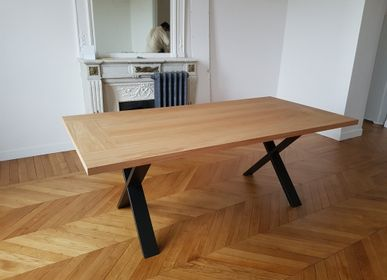 Dining Tables - Solid oak dining table, CROSS model - COLOMBUS MANUFACTURE FRANCE