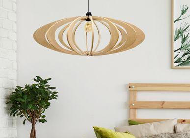 Hanging lights - Wood design pendant lamp D70cm Rolling - RIF LUMINAIRES