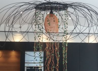 Hanging lights - Light suspension in twisted metal and copper - LA LANGUOCHAT