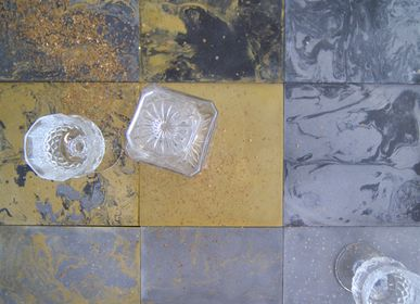 Kitchen splash backs - Gold and Silver Cement Tiles - ILOT COLOMBO