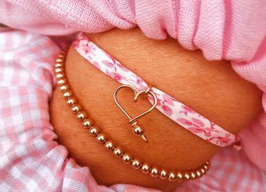 Bijoux - Bracelet mon cœur pailleté et mon cœur liberty - PADAM PADAM