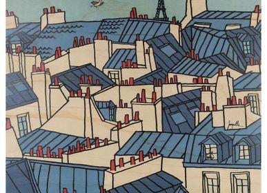 Affiches - Poster en bois Toits Parisiens - WOODHI