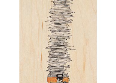 "Stationery / Card shop / Writing - Wood postcard ""Bus"" - WOODHI"
