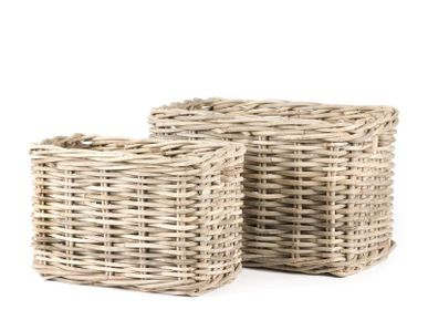 Decorative objects - Rectangular wood basket s/2 SB - SEMPRE LIFE