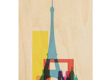 "Stationery / Card shop / Writing - Wood postcard ""Paris"" - WOODHI"