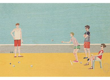 "Stationery / Card shop / Writing - Wood postcard ""Pétanque"" - WOODHI"