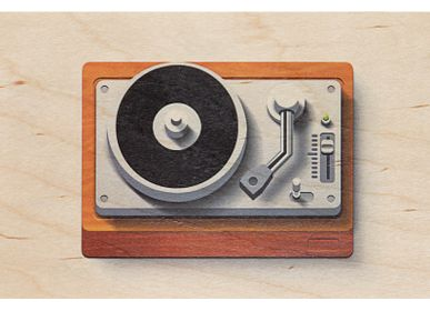 "Stationery / Card shop / Writing - Wood postcard ""Turntable"" - WOODHI"