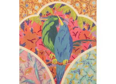 "Stationery / Card shop / Writing - Wood postcard ""Oiseau Vert et Bleu"" - WOODHI"