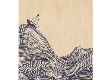 "Stationery / Card shop / Writing - Wood postcard ""Sea"" - WOODHI"