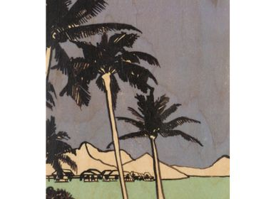 "Stationery / Card shop / Writing - Wood postcard ""Palm trees"" - WOODHI"