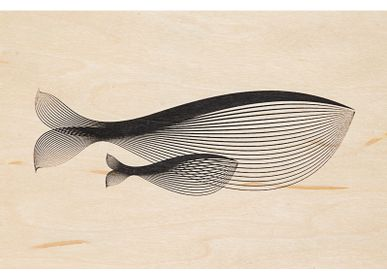 "Design objects - Wood postcard ""Whale"" - WOODHI"