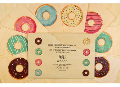 "Birthdays - Set of birthday cards ""Donuts"" - WOODHI"