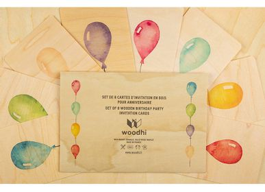 """Card shop - Set of birthday cards """"Ballons"""" - WOODHI"""