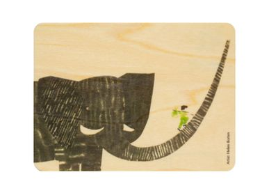 "Card shop - Woodhikids card ""Boy on elephant"" - WOODHI"