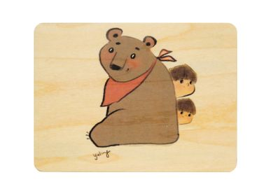 "Birthdays - Woodhikids card ""Bear"" - WOODHI"