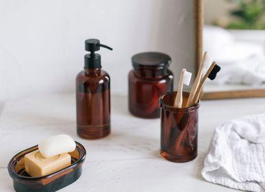 Porte savon - Boîte à cotons en verre ambre BA70106 - ANDREA HOUSE