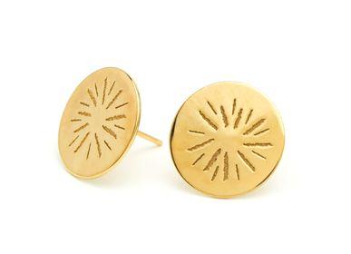Bijoux - Boucles d'oreilles médailles rondes soleil - JOUR DE MISTRAL