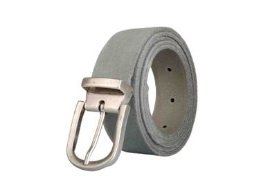 Leather goods - Grey leather belt with interchangeable buckle - VERTICAL L ACCESSOIRE