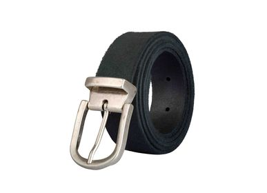 Leather goods - Anthracite leather belt with interchangeable buckle - VERTICAL L ACCESSOIRE