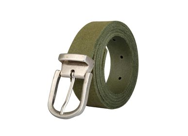 Leather goods - Khaki leather belt with interchangeable buckle  - VERTICAL L ACCESSOIRE
