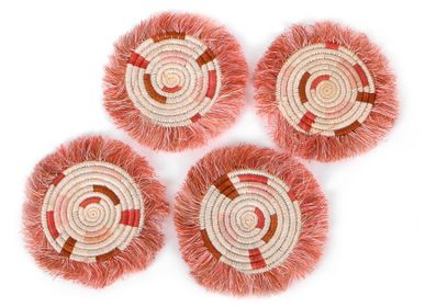 Stemware - Coral Geo Fringed Coasters - ALL ACROSS AFRICA + KAZI