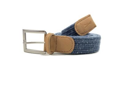 Leather goods - Blue braided belt with white stripes - VERTICAL L ACCESSOIRE