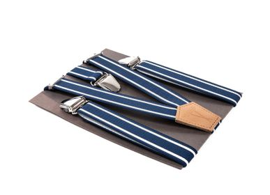 Leather goods - Blue and white suspenders - VERTICAL L ACCESSOIRE