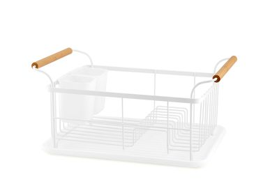 Dish Drainer - White metal and wood dishdrainer CC70032 - ANDREA HOUSE
